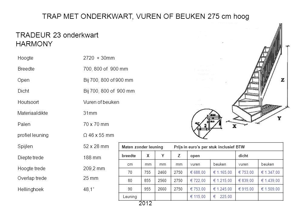 TRAP MET ONDERKWART, VUREN OF BEUKEN 275 cm hoog