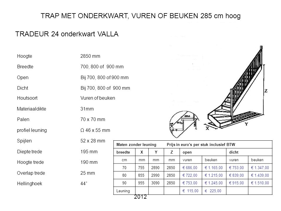 TRAP MET ONDERKWART, VUREN OF BEUKEN 285 cm hoog