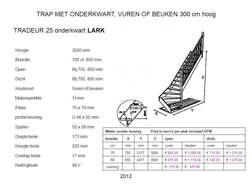 TRAP MET ONDERKWART, VUREN OF BEUKEN 300 cm hoog