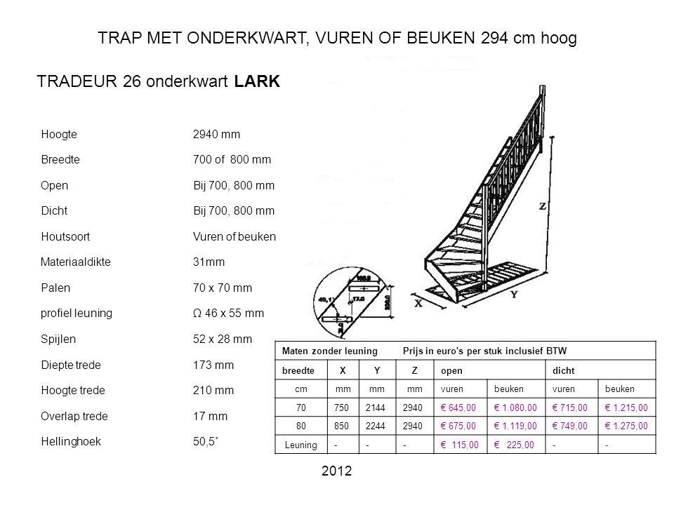 TRAP MET ONDERKWART, VUREN OF BEUKEN 294 cm hoog
