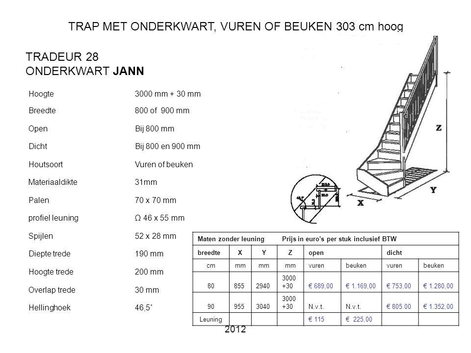 TRAP MET ONDERKWART, VUREN OF BEUKEN 303 cm hoog