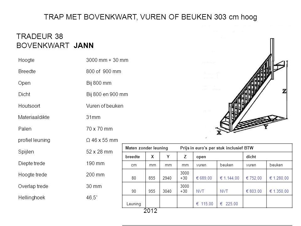 TRAP MET BOVENKWART, VUREN OF BEUKEN 303 cm hoog