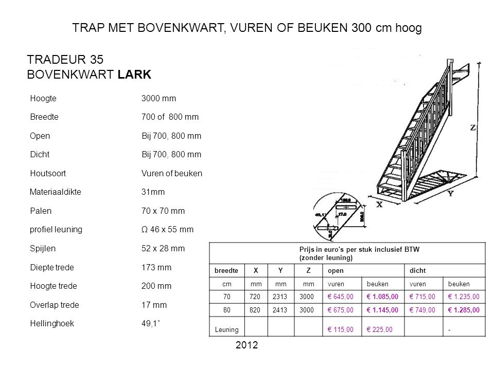 TRAP MET BOVENKWART, VUREN OF BEUKEN 300 cm hoog