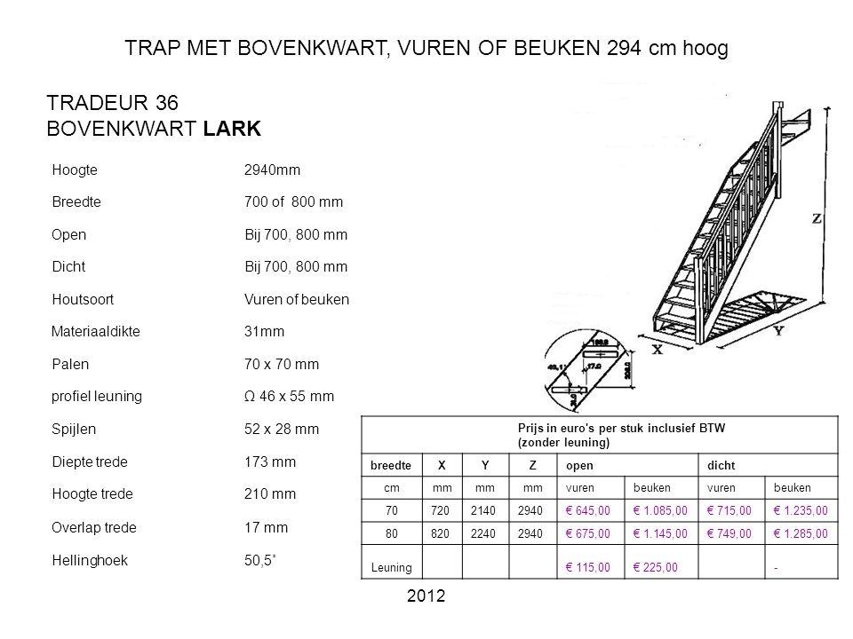 TRAP MET BOVENKWART, VUREN OF BEUKEN 294 cm hoog