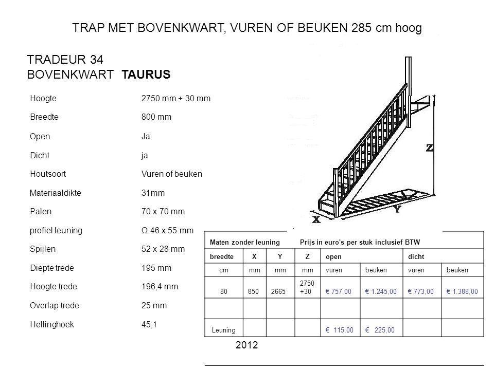 TRAP MET BOVENKWART, VUREN OF BEUKEN 285 cm hoog