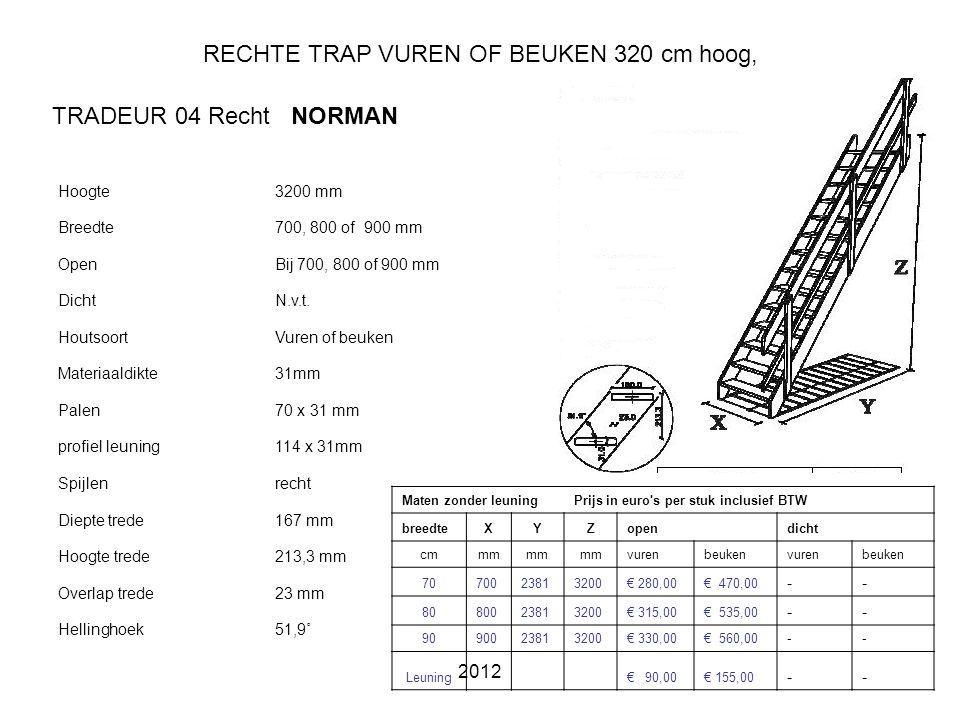 RECHTE TRAP VUREN OF BEUKEN 320 cm hoog,