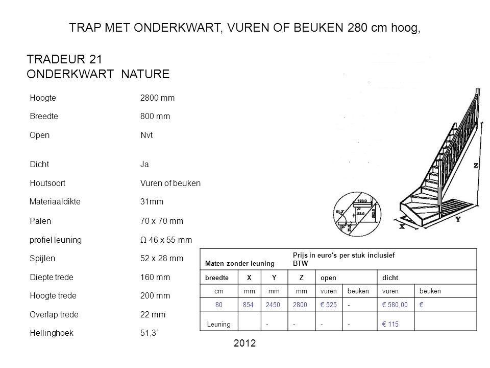 TRAP MET ONDERKWART, VUREN OF BEUKEN 280 cm hoog,