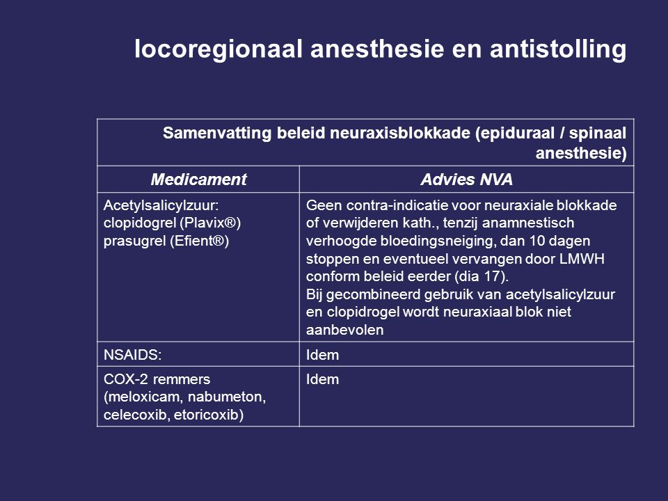 locoregionaal anesthesie en antistolling