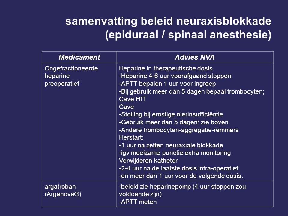 samenvatting beleid neuraxisblokkade (epiduraal / spinaal anesthesie)