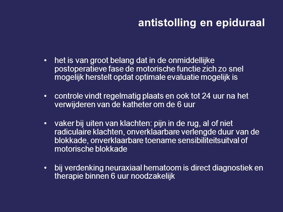 antistolling en epiduraal