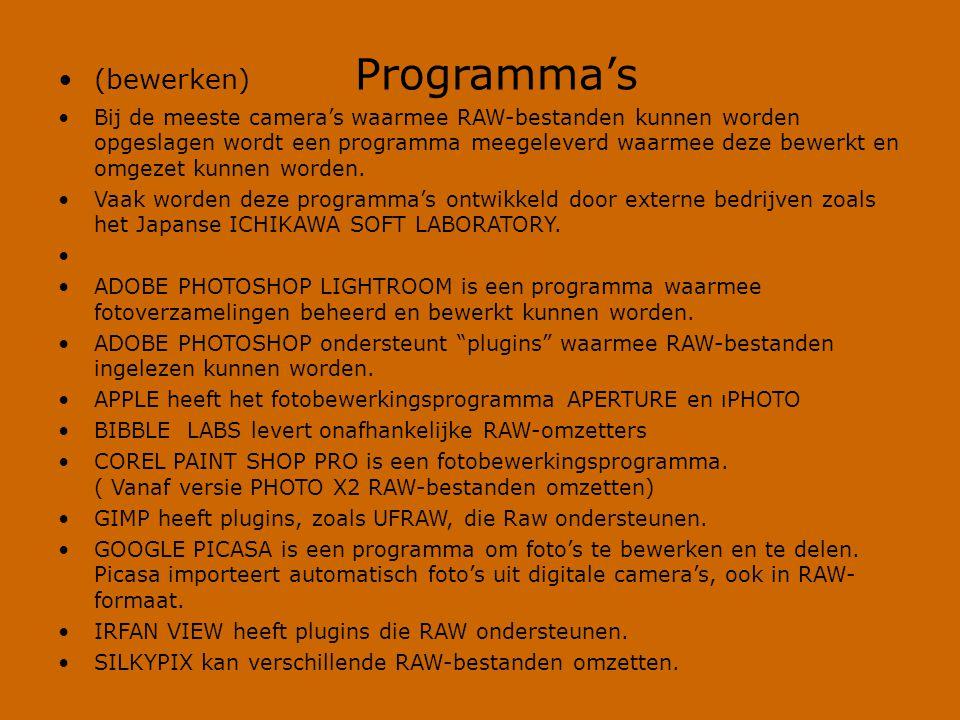 (bewerken) Programma's