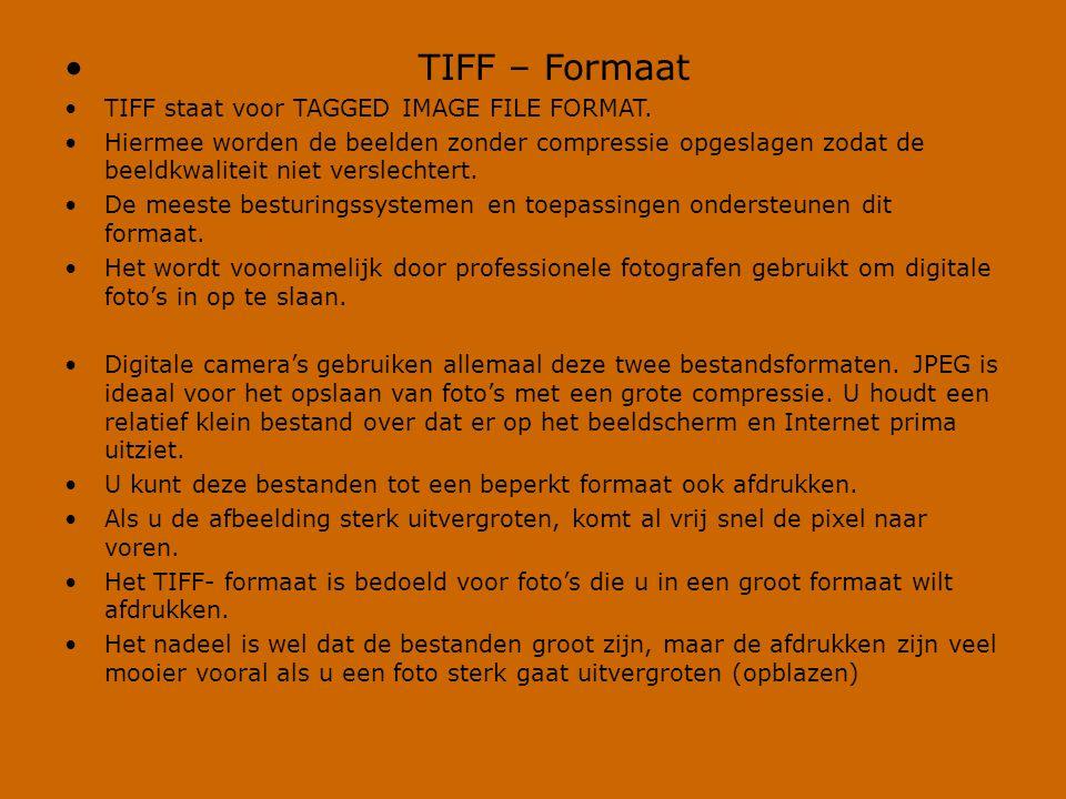 TIFF – Formaat TIFF staat voor TAGGED IMAGE FILE FORMAT.