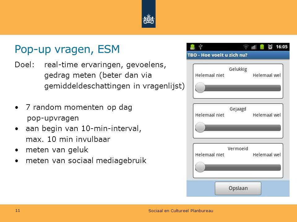 Pop-up vragen, ESM Doel: real-time ervaringen, gevoelens,