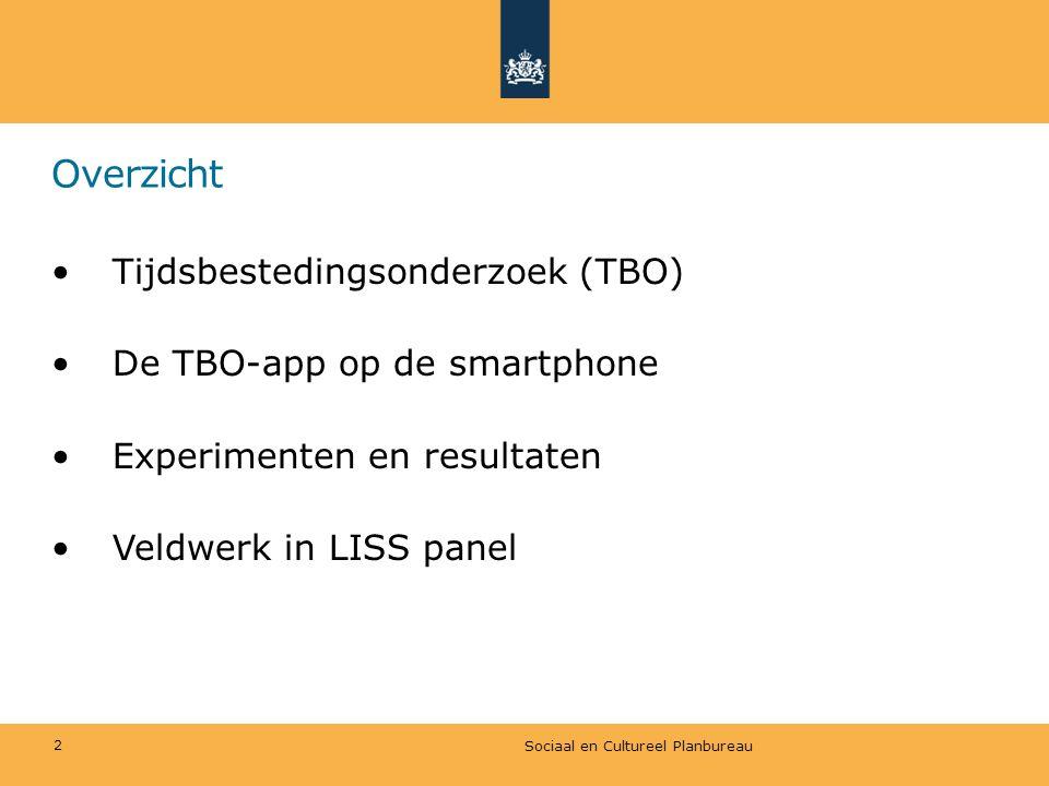 Overzicht Tijdsbestedingsonderzoek (TBO) De TBO-app op de smartphone
