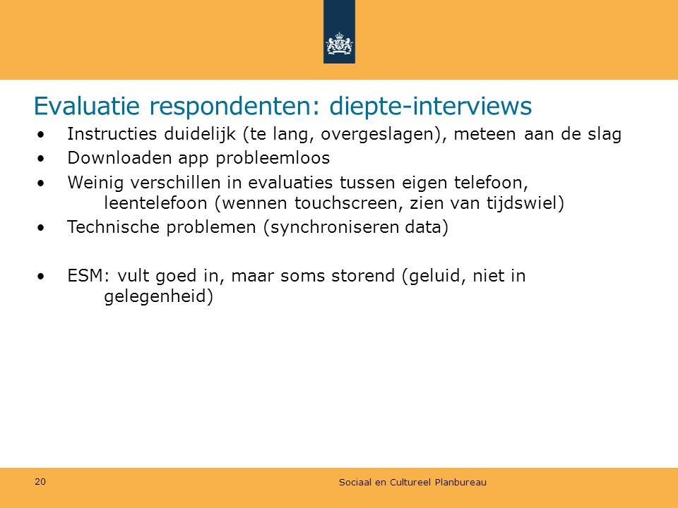 Evaluatie respondenten: diepte-interviews