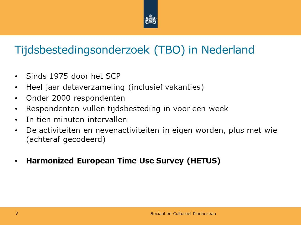 Tijdsbestedingsonderzoek (TBO) in Nederland