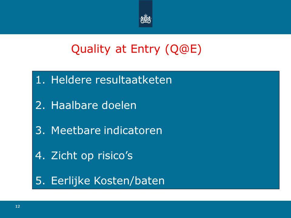 Quality at Entry (Q@E) Heldere resultaatketen Haalbare doelen