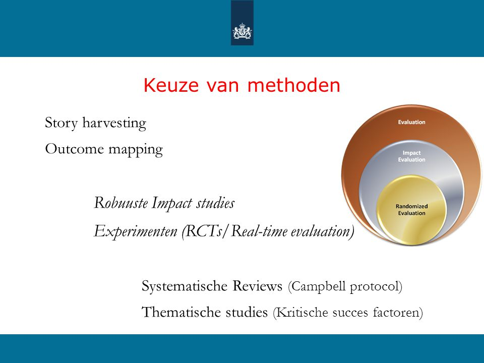 Keuze van methoden Experimenten (RCTs/Real-time evaluation)
