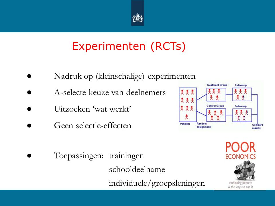 Experimenten (RCTs) ● Nadruk op (kleinschalige) experimenten