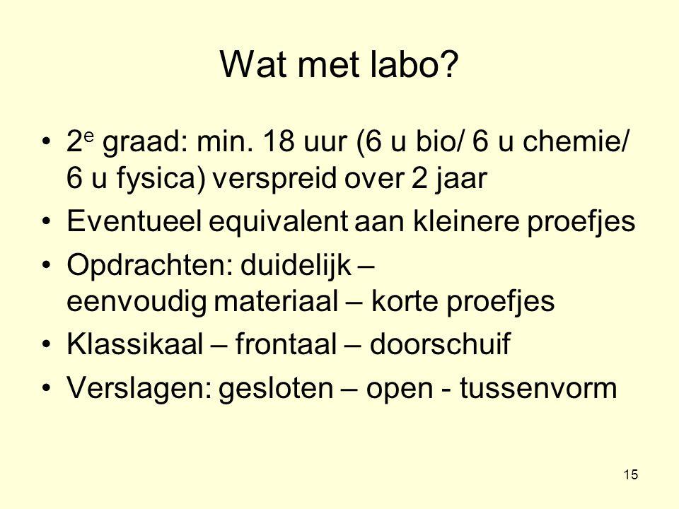 Wat met labo 2e graad: min. 18 uur (6 u bio/ 6 u chemie/ 6 u fysica) verspreid over 2 jaar. Eventueel equivalent aan kleinere proefjes.