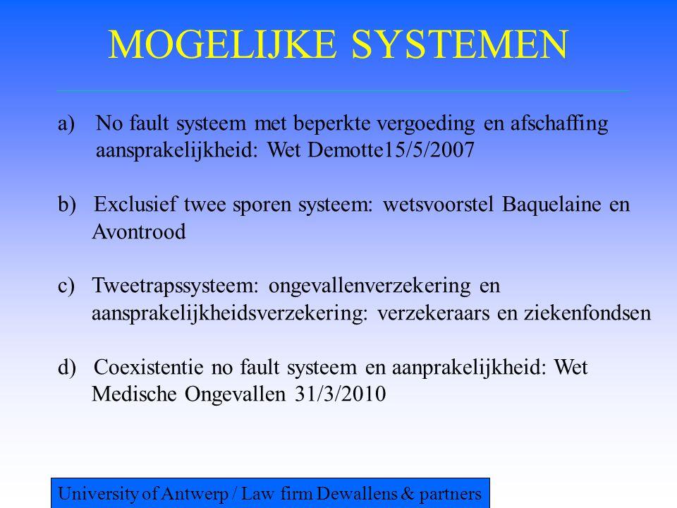 MOGELIJKE SYSTEMEN No fault systeem met beperkte vergoeding en afschaffing aansprakelijkheid: Wet Demotte15/5/2007.