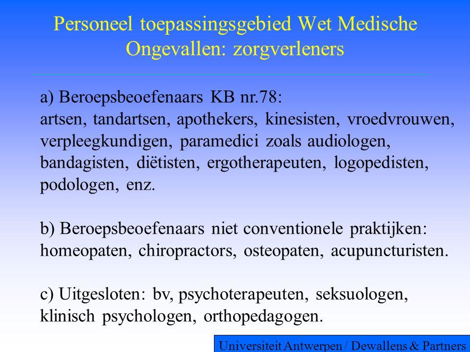 Personeel toepassingsgebied Wet Medische Ongevallen: zorgverleners