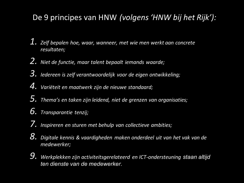 De 9 principes van HNW (volgens 'HNW bij het Rijk'):