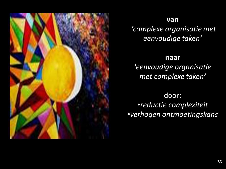 'complexe organisatie met eenvoudige taken'