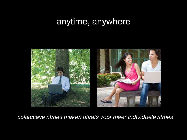 collectieve ritmes maken plaats voor meer individuele ritmes