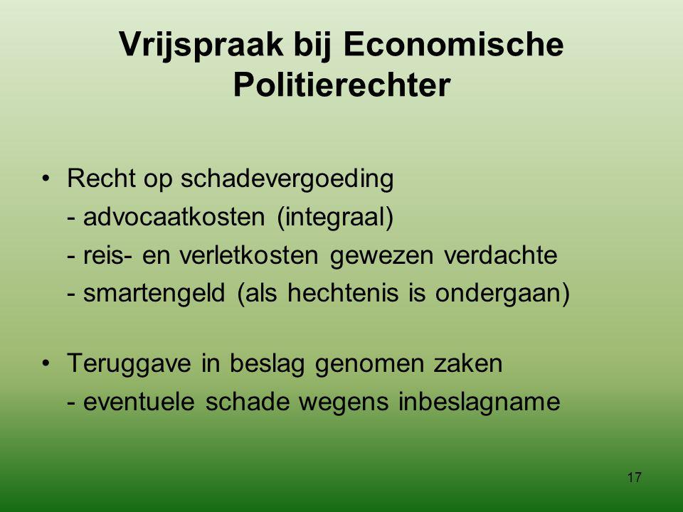 Vrijspraak bij Economische Politierechter