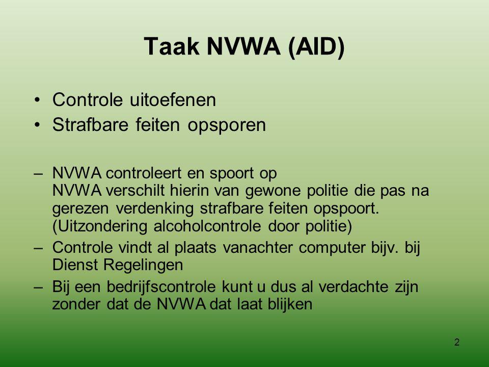 Taak NVWA (AID) Controle uitoefenen Strafbare feiten opsporen