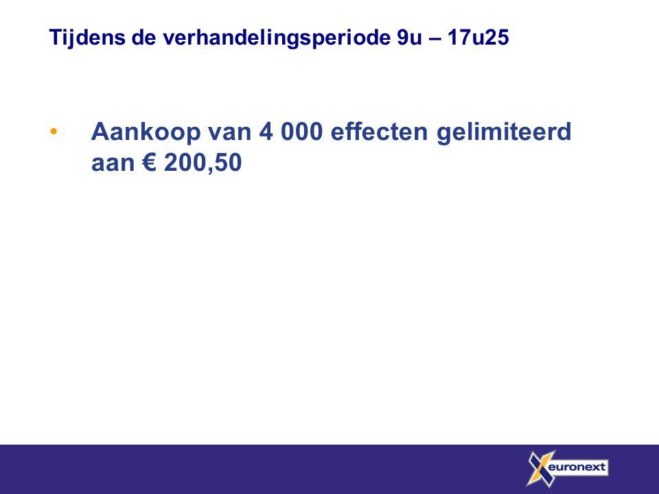 Aankoop van 4 000 effecten gelimiteerd aan € 200,50