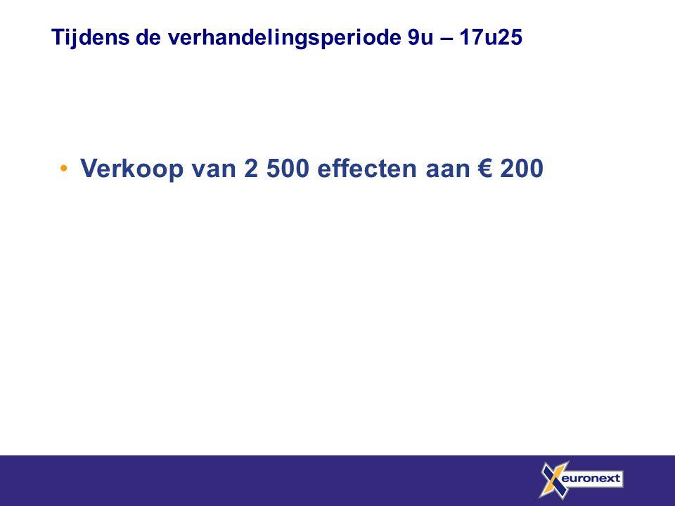 Verkoop van 2 500 effecten aan € 200
