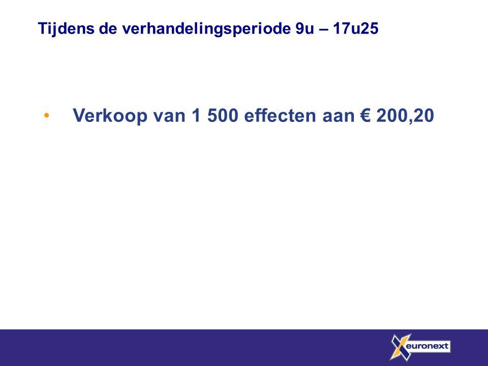 Verkoop van 1 500 effecten aan € 200,20