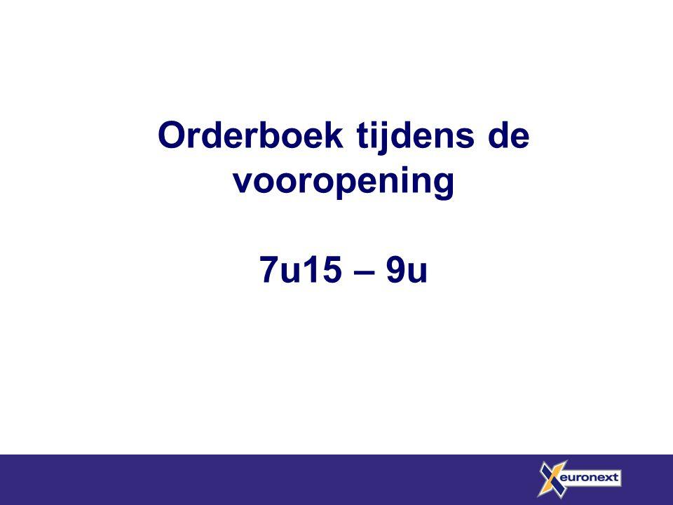 Orderboek tijdens de vooropening