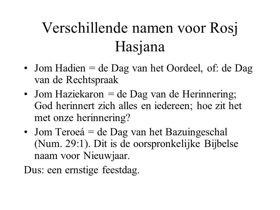 Verschillende namen voor Rosj Hasjana