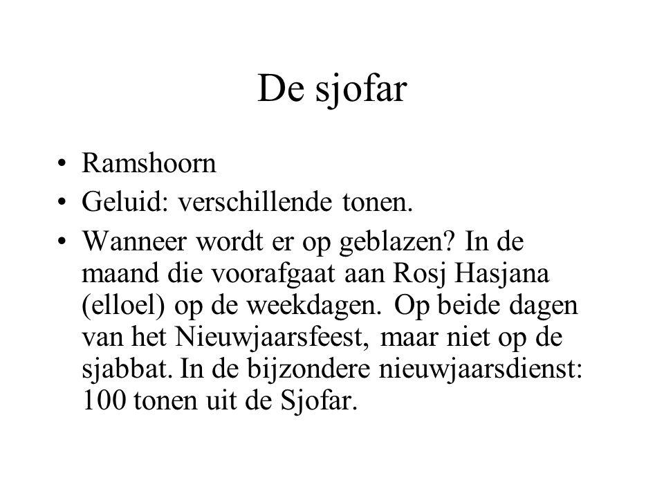 De sjofar Ramshoorn Geluid: verschillende tonen.