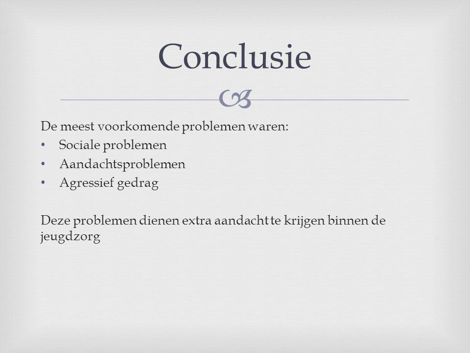 Conclusie De meest voorkomende problemen waren: Sociale problemen