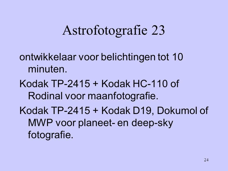 Astrofotografie 23 ontwikkelaar voor belichtingen tot 10 minuten.