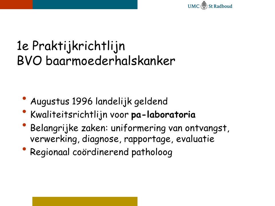 1e Praktijkrichtlijn BVO baarmoederhalskanker