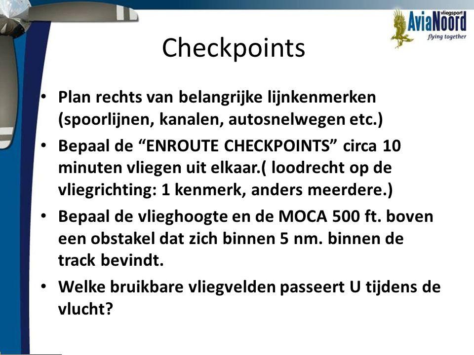 Checkpoints Plan rechts van belangrijke lijnkenmerken (spoorlijnen, kanalen, autosnelwegen etc.)