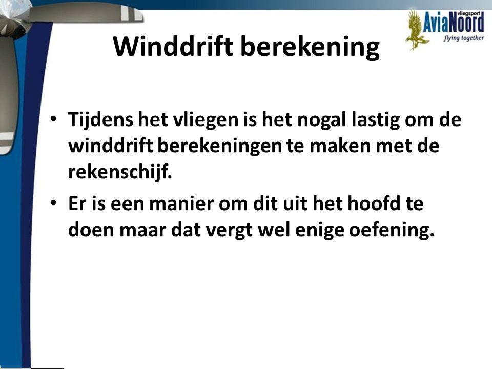 Winddrift berekening Tijdens het vliegen is het nogal lastig om de winddrift berekeningen te maken met de rekenschijf.