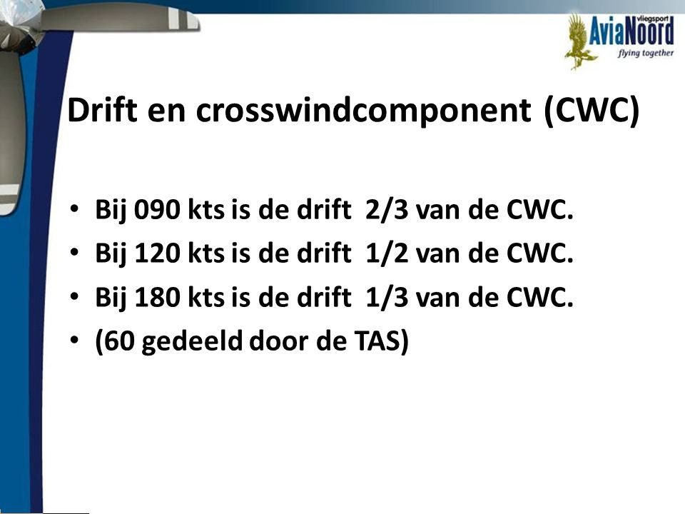 Drift en crosswindcomponent (CWC)