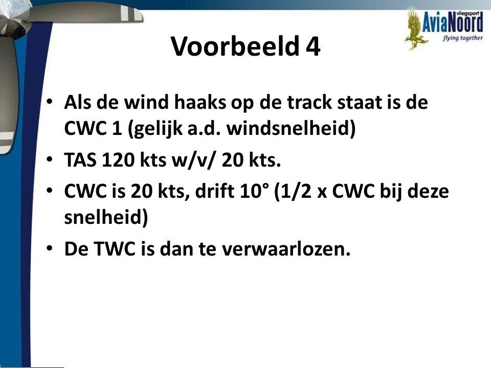 Voorbeeld 4 Als de wind haaks op de track staat is de CWC 1 (gelijk a.d. windsnelheid) TAS 120 kts w/v/ 20 kts.