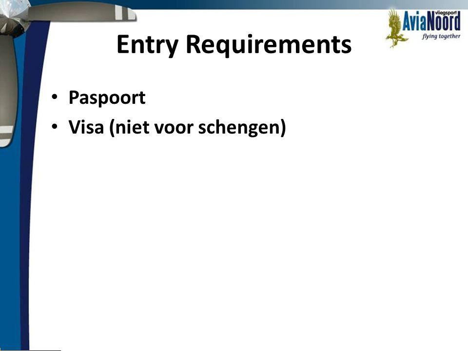 Entry Requirements Paspoort Visa (niet voor schengen)