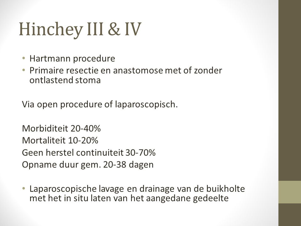 Hinchey III & IV Hartmann procedure