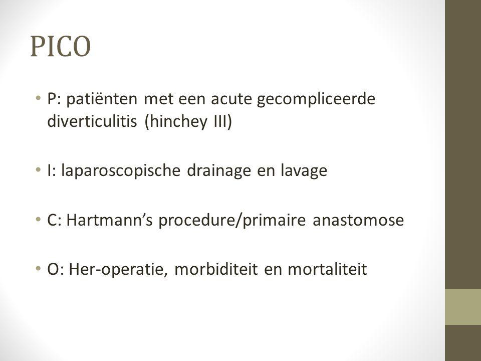 PICO P: patiënten met een acute gecompliceerde diverticulitis (hinchey III) I: laparoscopische drainage en lavage.