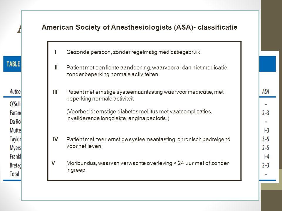 Alamili et al. (2009) American Society of Anesthesiologists (ASA)- classificatie. I. Gezonde persoon, zonder regelmatig medicatiegebruik.