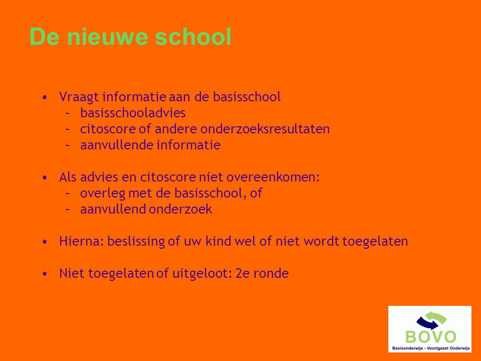 De nieuwe school Vraagt informatie aan de basisschool