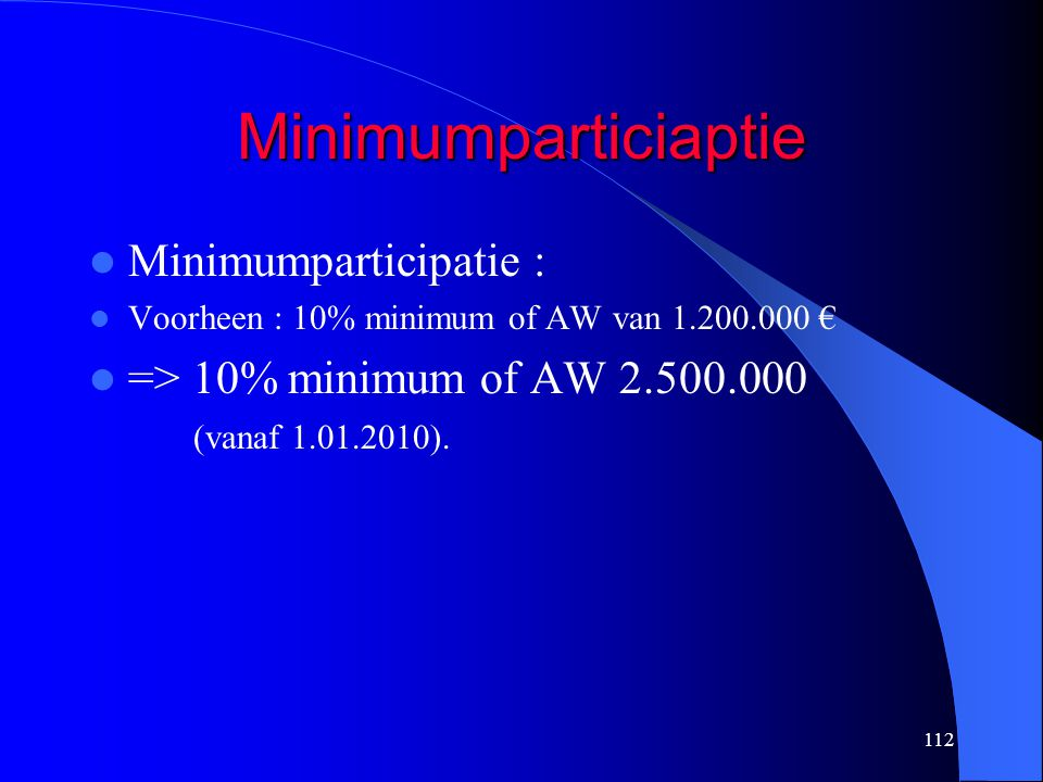 Minimumparticiaptie Minimumparticipatie :